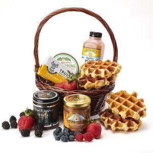 Belgian Waffle Breakfast Basket with Banana Foster Jam !