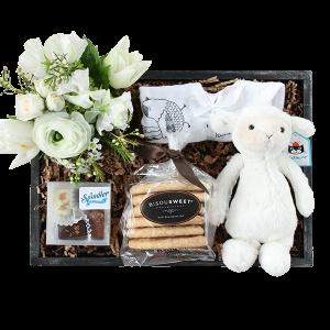 Newborn Baby Crate boy or girl , select colors market arrangement !