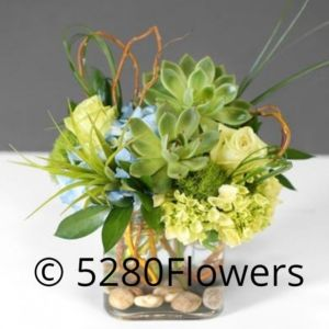 Green on green arrangement with Succulents hydrangea and roses