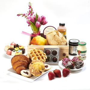 5280flowers and 5280gourmet present Breakfast Fruits , flowers and pastries, Jam, Honey, one dozen Baby Cakes and a Market arrangement . Local Jam, Honey and pastries together with delectable seasonal fruits and berries and some chocolate covered Strawber