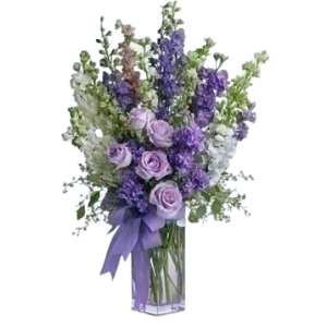 Blue and lavender flower arrangement for Denver Delivery
