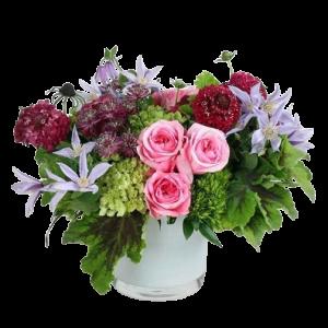 Summer time blues and pinks flower arrangement